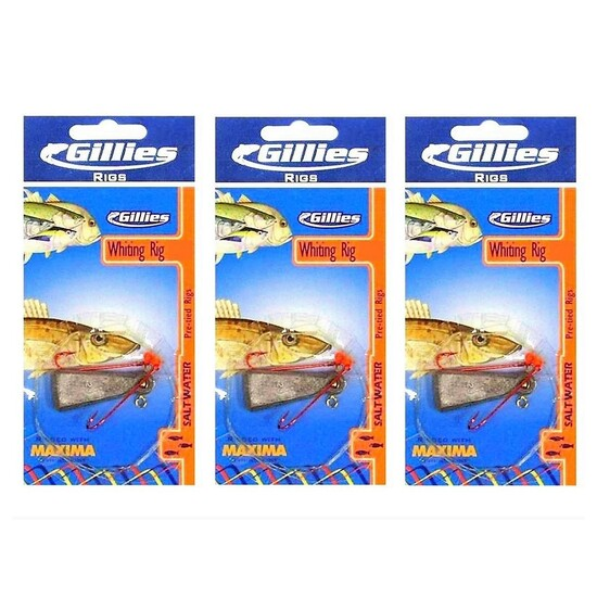 3 x Gillies Size 4 Pre-Tied Whiting Rigs with Chemically Sharpened Hooks