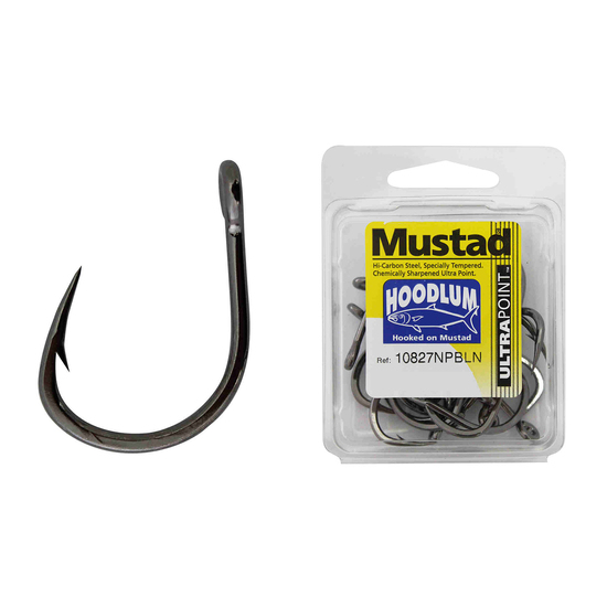 1 Box of Mustad 10827NPBLN Hoodlum Live Bait 4x Strong Fishing Hooks
