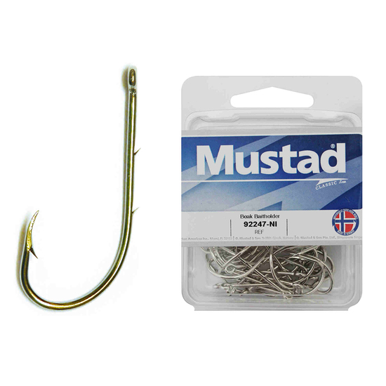 1 Box of Mustad 92247NI Beaked Baitholder Nickle Fishing Hooks