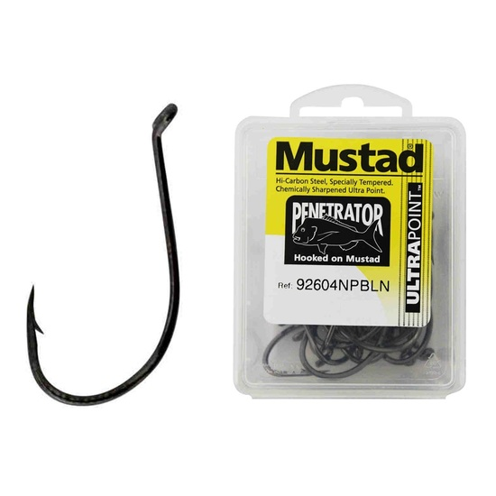 1 Box of Mustad 92604NPBLN Penetrator Chemically Sharpened Fishing Hooks