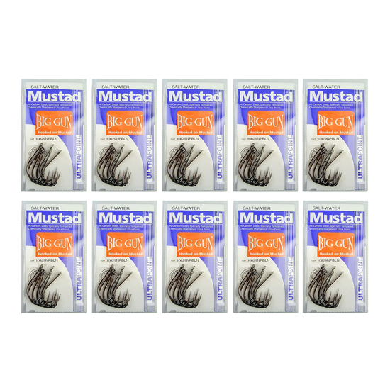 10 Packs of Mustad 10829NPBLN Big Gun Chemically Sharp Fishing Hooks