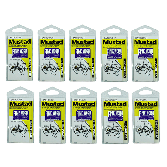10 Packs of Mustad 32813NPBLM Fine Worm Chemically Sharp Fishing Hooks