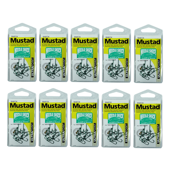 10 Packs of Mustad 3331NPGR Needle Sneck Weed Chemically Sharp Fishing Hooks