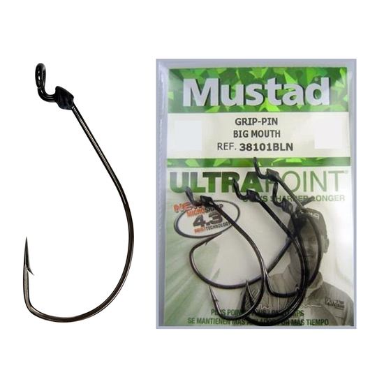 1 Packet of Mustad 38101BLN KVD Grip Pin Chemically Sharp Fishing Hooks