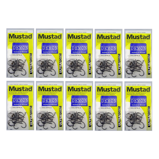 10 Packs of Mustad 39951NPBLN Demon Circle Light Chemically Sharp Fishing Hooks