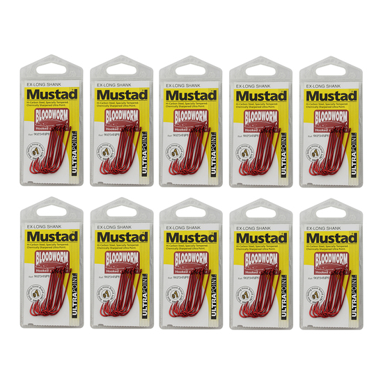 10 Packs of Mustad 90234NPNR Bloodworm Chemically Sharp Fishing Hooks