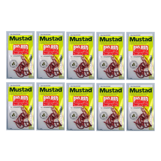 10 Packs of Mustad 92554NPNR Big Red Chemically Sharp Fishing Hooks