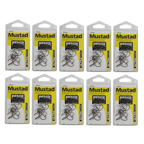 10 Packs of Mustad 92604NPBLN Penetrator Chemically Sharp Fishing Hooks