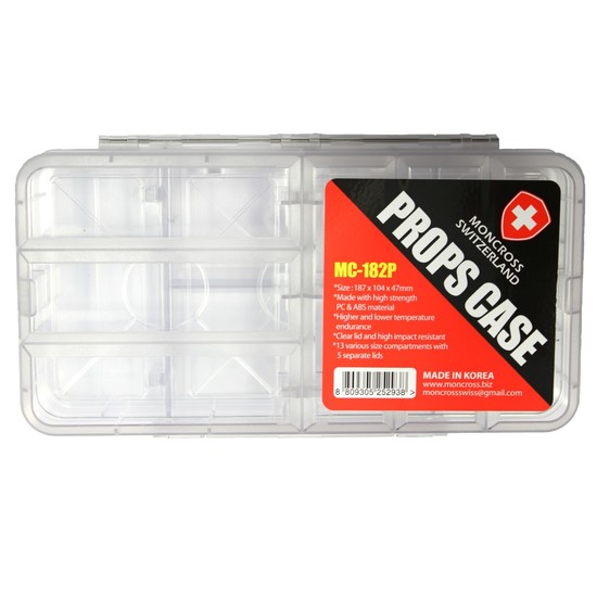 Moncross MC-182P Double Sided Fishing Tackle Tray - 5 Seperate Lids - Props Case