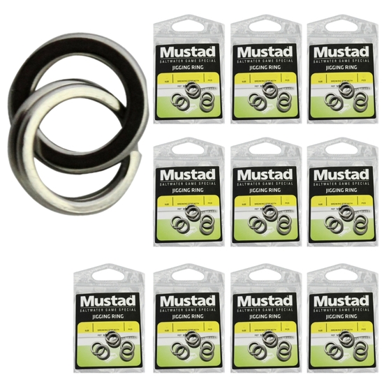 10 x Packets of Mustad Stainless Steel Jigging Rings For Fishing Lures