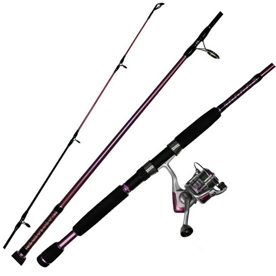 Okuma Temptress Ladies Fishing Rod and Reel Combo - 2 Pce Spin Combo - Bonus Hat