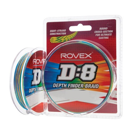 600yd Spool of Rovex D:8 Multi-Coloured Depth Finder Braided Fishing Line