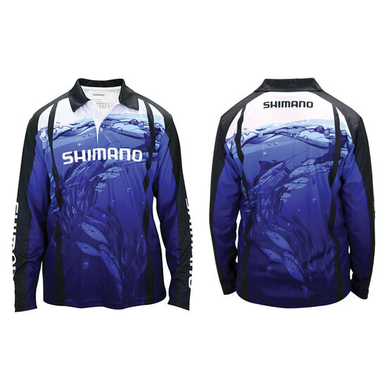 Shimano Underwater Long Sleeve Polo Tournament Fishing Shirt - Sublimated UPF50+