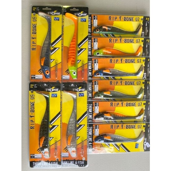 "Storm R.I.P. T-Bone Shad Lures Mixed Box - 10 Assorted 7"" and 9"" Lures - 4 x 9"" & 6 x 7"""