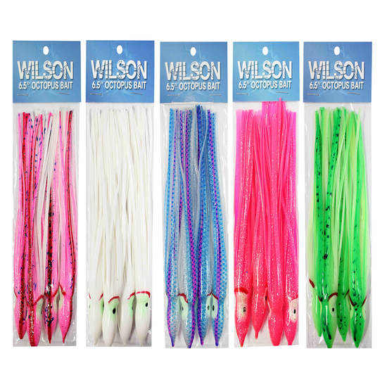 4 Pack of Wilson 6.5 Inch Vinyl Octopus Squid Skirts-Squid Tails-Trolling Skirts