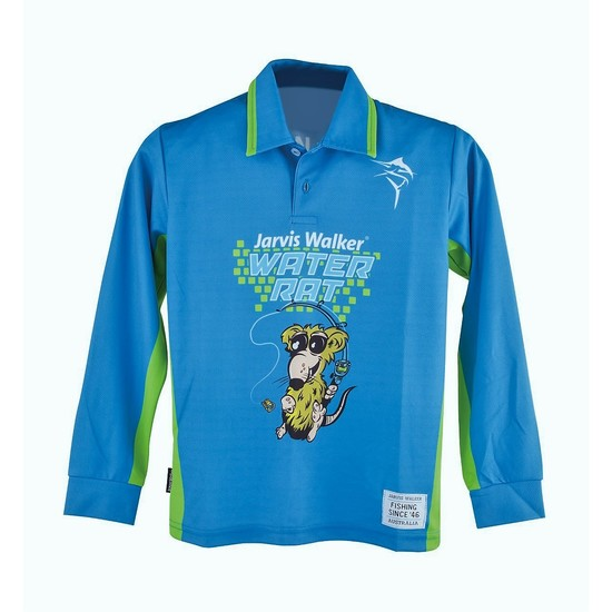 Blue Jarvis Walker Water Rats Kids Long Sleeve Fishing Shirt with Collar-UPF 45+