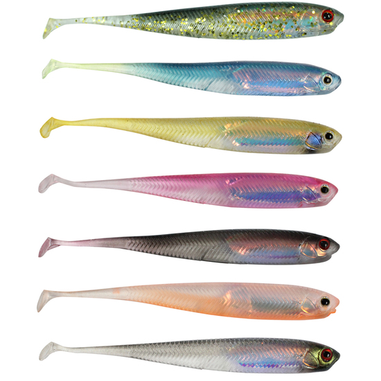 6 Pack of 110mm Zerek Live Flash Minnow Wriggly Soft Plastic Fishing Lure