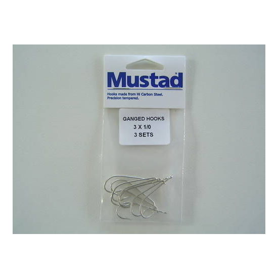 Mustad Pre-Rigged Gang Hooks 1/0 3 Hooks 3 Sets Kirby