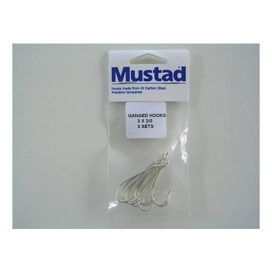 Mustad Pre-Rigged Gang Hooks 2/0 3 Hooks 3 Sets Kirby