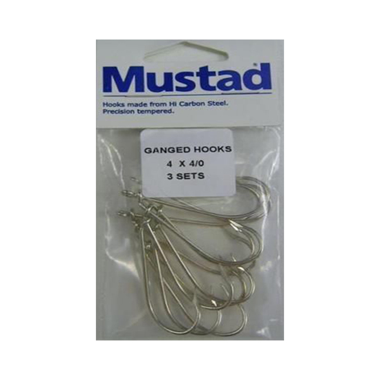 3 Sets Mustad Pre-Rigged Ganged Hooks 4/0 X 4 Hooks
