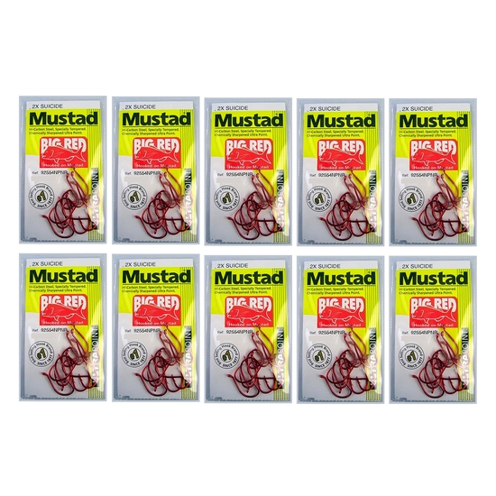 MUSTAD BIG RED SIZE 5/0 - BULK 10 Pce VALUE PACK  - 92554NPNR - 2X STRONG