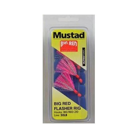 MUSTAD BIG RED FLASHER 3 HOOK FISHING RIG SIZE 2/0 NEW