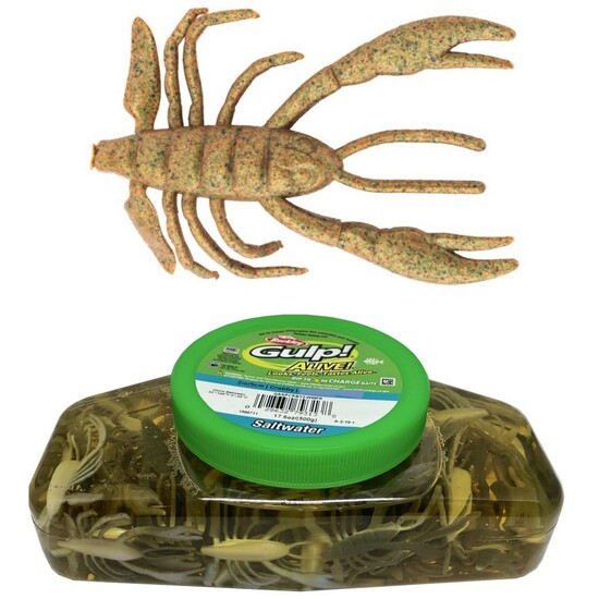 Tub of Berkley Gulp! Alive! 2 Inch Crabby Recharge Soft Baits - Breen