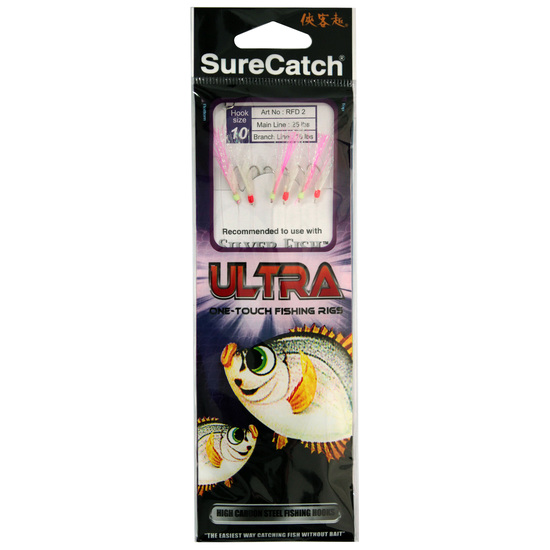 Surecatch Ultra Sabiki Rig Bait Rig With Whitepink Tinsel