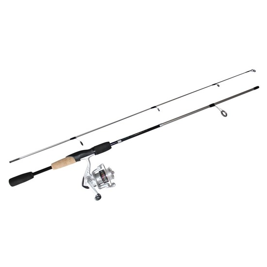 Black 5'6 Okuma Steeler XP 2 Piece Fishing Rod and Reel Combo Spooled with Line